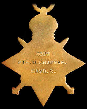 Back detail of 1914/15 Star, Cambridgeshire Regiment